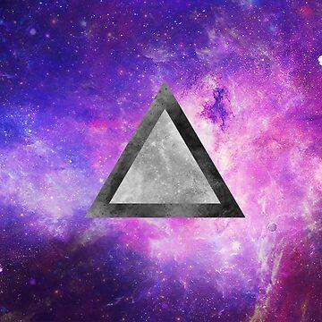 Pink Galaxy - Black & White Triangle by blackbase