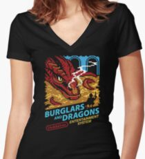 Burglars and Dragons Women's Fitted V-Neck T-Shirt