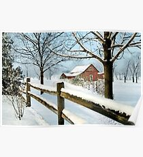 Barn In Snow Winter Poster