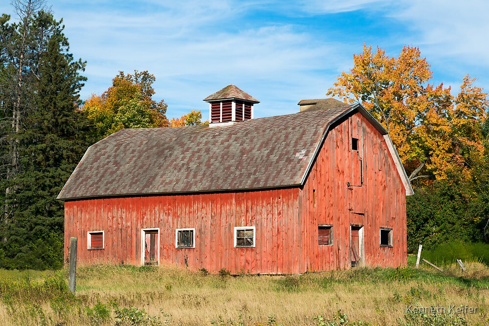 """""""Old Red Barn in Wisconsin"""" by Kenneth Keifer 