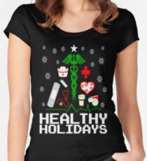 Healthy Holidays Nurse Tree Women's Fitted Scoop T-Shirt