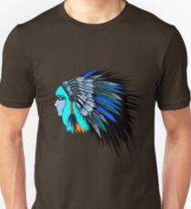 Blue head wearing a native American head piece. Unisex T-Shirt