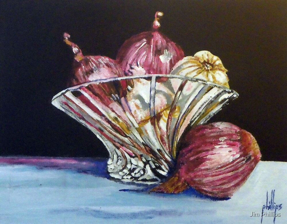 Red Onions and Garlic in a Crystal Bowl by Jim Phillips