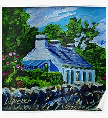 Old Cottage on Garron Road, Townland of Galboly, Antrim Coast., Oil and acrylic on canvas., 8 x 8 ins Poster