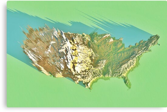 Fantasy Map of United States Canvas Prints by alokkumar0102