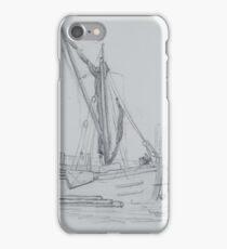 pencil sketch - a boat at Putney 1880 iPhone Case/Skin