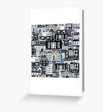 SPLASHYARTYSTORY - ALL ABOUT BUILDINGS blue Greeting Card