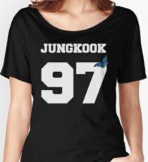BTS- JUNGKOOK 97 Linien-Schmetterlings-Jersey Baggyfit T-Shirt