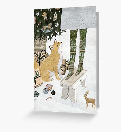 Christmas tree decorating Greeting Card
