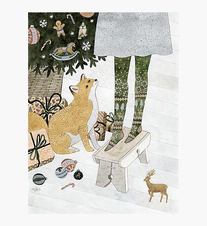 Christmas tree decorating Photographic Print