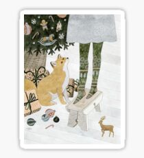 Christmas tree decorating Sticker
