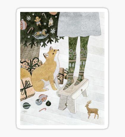 Christmas tree decorating Sticker