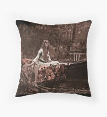 Lady of Shalott Adrift Throw Pillow