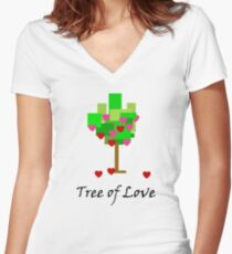 Tree of Love Women's Fitted V-Neck T-Shirt