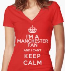 Keep Calm I Support Manchester United Women's Fitted V-Neck T-Shirt