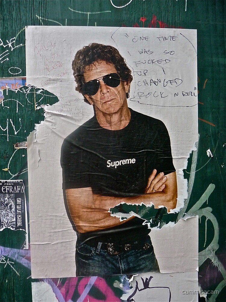 Detail of Lou Reed street poster by cammisacam
