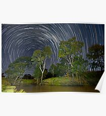 Star Trails over the Condamine River, Ellangowan Qld.  Poster