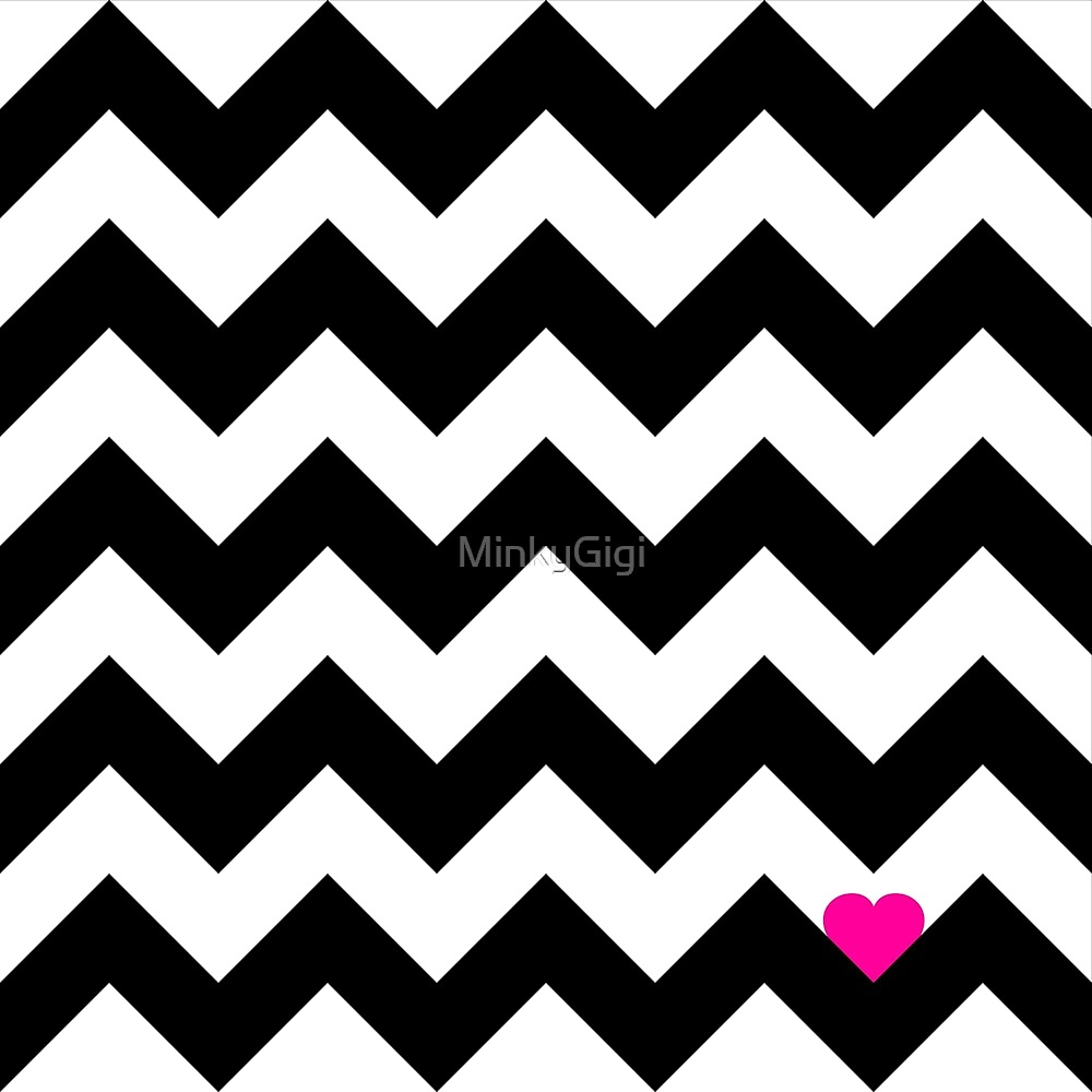 Heart & Chevron - Black/Pink by MinkyGigi