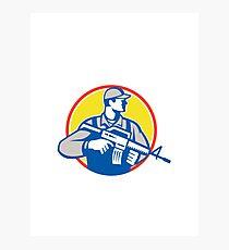 Soldier Military Serviceman Assault Rifle Side Retro Photographic Print