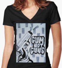 Gum Not Guns Women's Fitted V-Neck T-Shirt