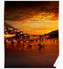 Looe at Sunset Poster