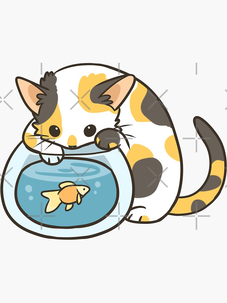 Calico Kitty and Goldfish by pawlove