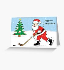 Hockey Santa Christmas Card Greeting Card