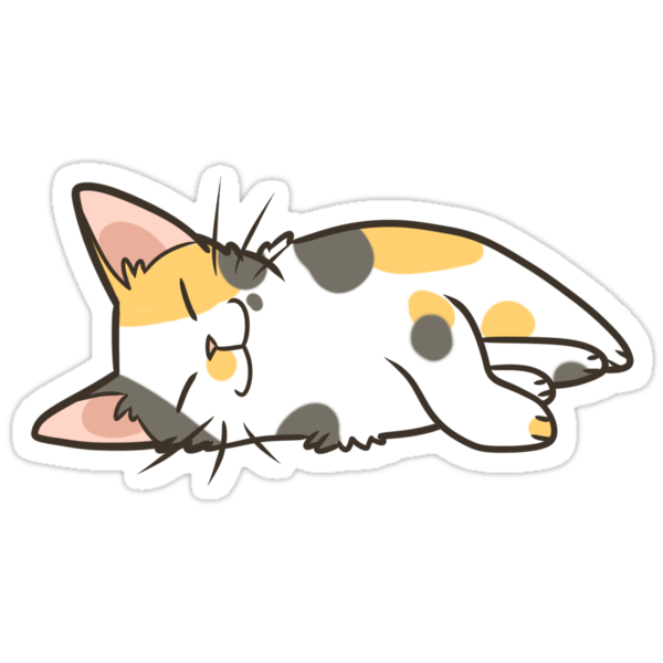 Quot Sleeping Calico Quot Stickers By Pawlove Redbubble