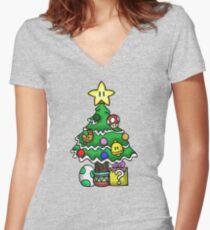 Super Mario - Pilzreich Weihnachten (alt) Shirt mit V-Ausschnitt