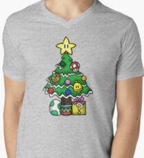 Super Mario - Mushroom Kingdom Christmas (Old) Men's V-Neck T-Shirt