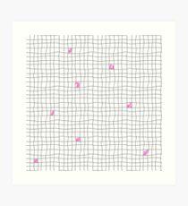 Carreaux - Grey/Pink Art Print
