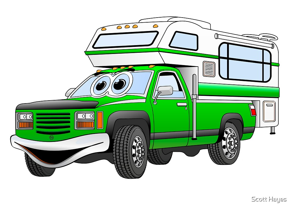 Green Cartoon Pick Up Camper by Graphxpro