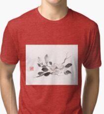 White queen sumi-e painting Tri-blend T-Shirt