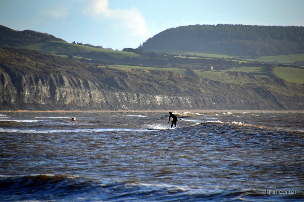 Riding The Waves At Lyme, Dorset, UK  by lynn carter