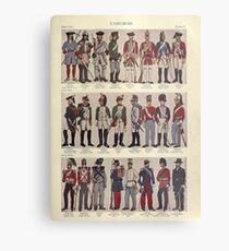 Illustrations of military uniforms from  by René L'Hôpital. Metal Print