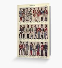 Illustrations of military uniforms from  by René L'Hôpital. Greeting Card