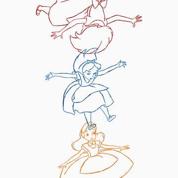 Hand drawn animation Key frames - Alice in Wonderland by MinetteMona