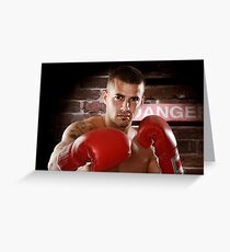 Fighter in boxing gloves art photo print Greeting Card