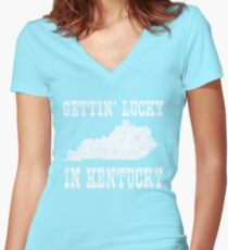 Getting Lucky in Kentucky Women's Fitted V-Neck T-Shirt