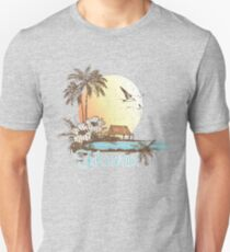 Hawaii Vintage Tropical Scene Slim Fit T-Shirt