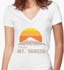 I climbed Mt. Shasta Women's Fitted V-Neck T-Shirt