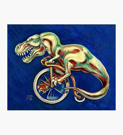 Tyrannosaurus on a Bicycle Photographic Print