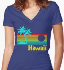 Vintage 80s Hawaii (Distressed Design) Women's Fitted V-Neck T-Shirt