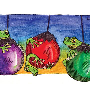 kmay xmas frogs on baubles by amayzing