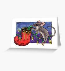 kmay xmas mouse stocking Greeting Card