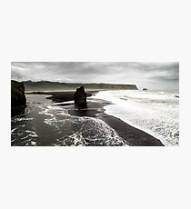 Isolated Rock: Black Beach at Dyrholaey, Iceland Photographic Print