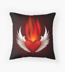 Burning Heart Throw Pillow