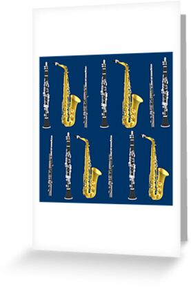 Musical Instruments On Royal Blue Background Christmas Gift Idea