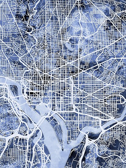Washington DC Street Map von Michael Tompsett