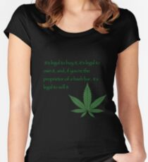 it's legal to buy it, it's legal to own it, and, if you're the proprietor of a hash bar, it's legal to sell it. - Pulp fiction Women's Fitted Scoop T-Shirt